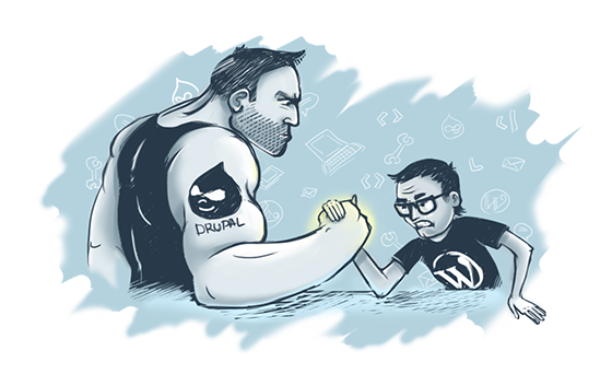 Comic showing the power of Drupal vs WordPress